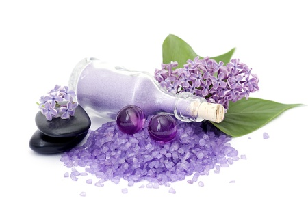 spa products and lilac flowers Stock Photo - 13360498
