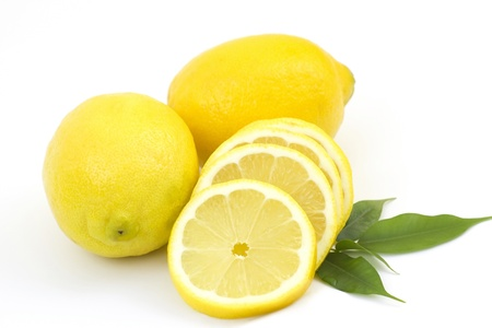 whole lemon and slices on white background  Standard-Bild