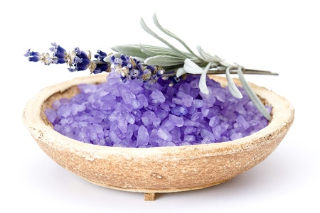 Spa essentials (bath salt and flowers of lavender)