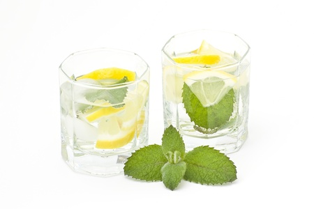 water with ice, mint and lemon photo