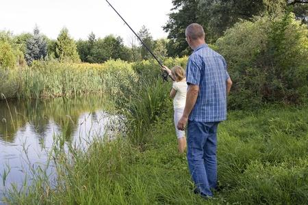 fishingline: fishing on the lake Stock Photo