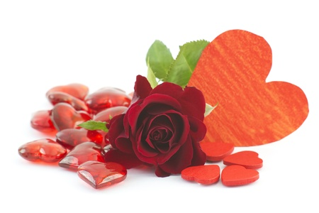 red rose and hearts Stock Photo - 13543838