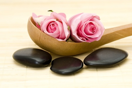 spa stones and pink roses photo