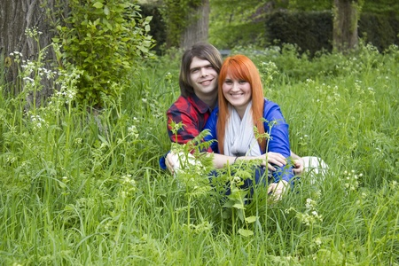 Portrait of love couple outdoor in park  photo