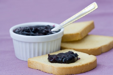 sweet blueberries jam on toast Stock Photo - 13584263