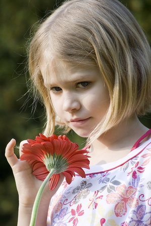 Beautiful little girl holding a red gerber daisy Stock Photo