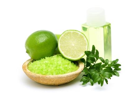 lime bath salt, oil bath and some fresh fruit