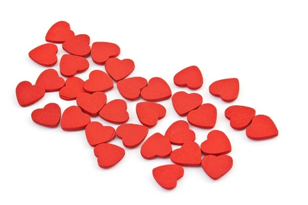 Small hearts on white background photo