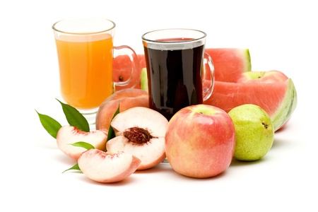 fruit juice and fresh fruits photo
