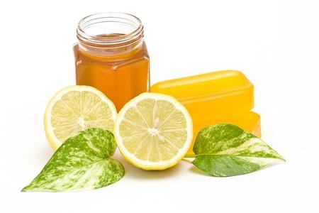 glycerin soap: glycerin soap, jar of honey and lemon