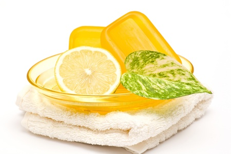 glycerin soap: bar of glycerin soap and lemon