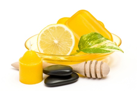 glyceryn soap, lemon and massage stones Stock Photo - 13866651