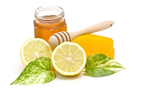 glycerin soap: glycerin soap, jar of honey and lemon
