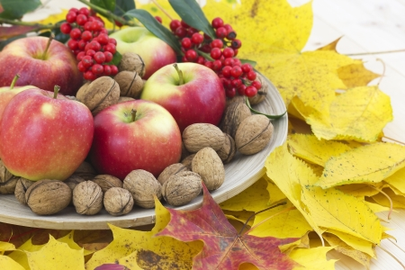 arrangement of autumn leaves and red apples and walnuts photo