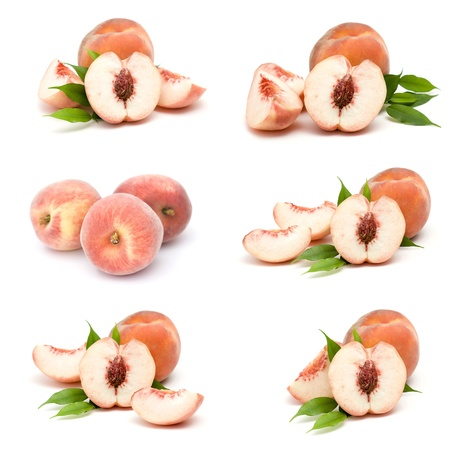 collection of fresh peach fruits photo