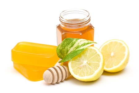 glycerin soap, jar of honey and lemon