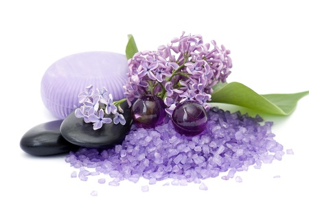 bath salt: spa products and lilac flowers