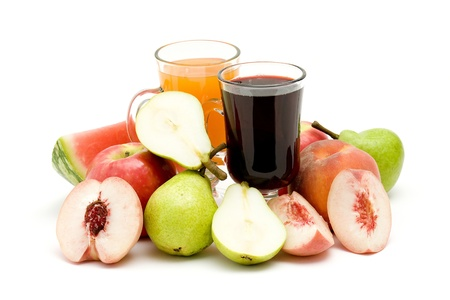 foodstill: fruit juice and some fresh fruits Stock Photo