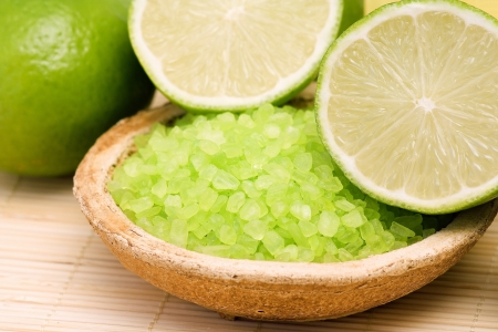 lime bath salt and some fresh fruit photo