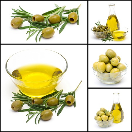 a collage of five pictures of many olives and olive oil photo