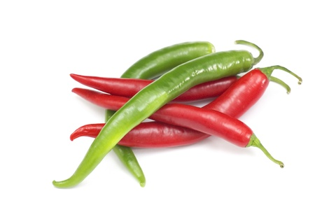 Red hot chili peppers on white background Stock Photo - 14264883
