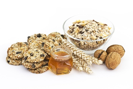 cereal cookies, muesli, honey and nuts photo