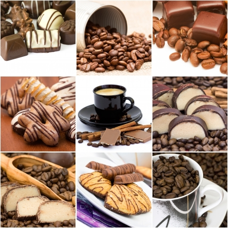 Collage with coffee, chocolate and cookies photo