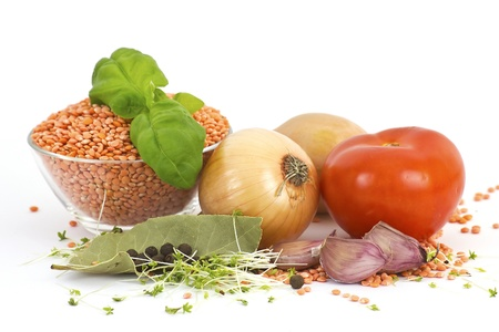 fresh vegetables, lentils and spices