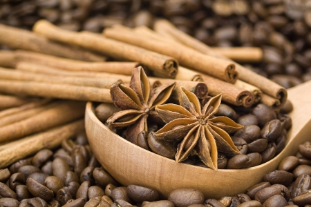 coffee beans, cinnamon and anise photo