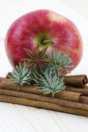 apple cinnamon: mela rossa, bastoncini di cannella e anice Archivio Fotografico