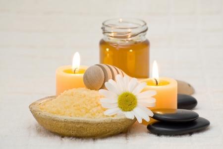 bath salt with honey and chamomile photo