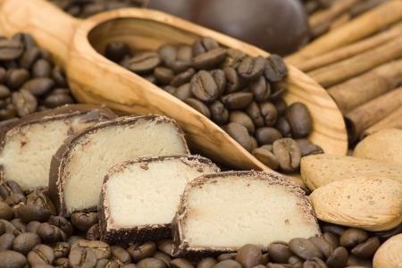 marchpane, coffee, cinnamon and almonds photo