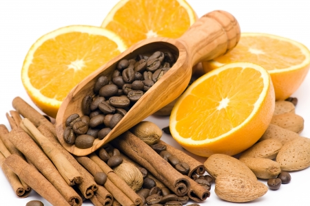 orange, coffee, cinnamon and almonds Stock Photo - 14750362