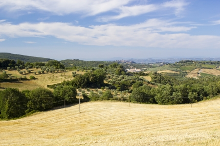 Tuscany landscape  San Gimignano on the background  photo