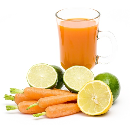 fruits, carrots and fresh juice photo