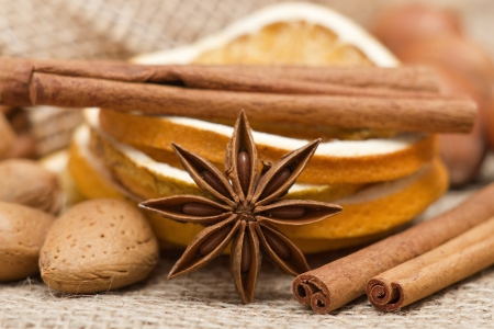 dried spice: anise, cinnamon, almond, orange