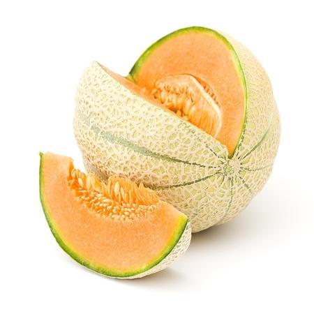 マスクメロン: orange cantaloupe melon isolated on white background