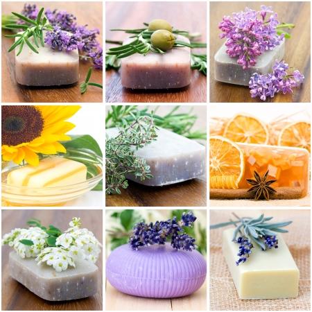 Savons naturels - collage de neuf photos Banque d'images - 15260483