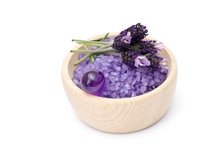 Spa essentials (bath salt, oil pearls and flowers of lavender) photo