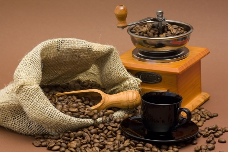 grinder and coffee beans Stock Photo