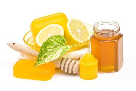 glycerin soap: bar of glycerin soap, jar of honey and lemon  Stock Photo