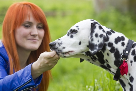 young woman and her dog Stock Photo - 15316411