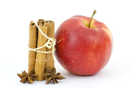 apple, cinnamon sticks and anise Stock Photo - 15538847