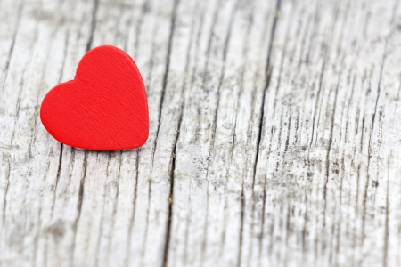 red heart on wooden background, Valentines Day background Stock Photo - 15581981
