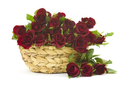 red roses in a basket Stock Photo - 15694593