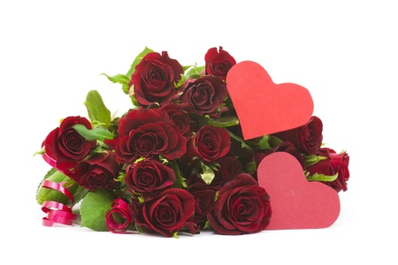 Big bunch of red roses and hearts Stock Photo - 15834182