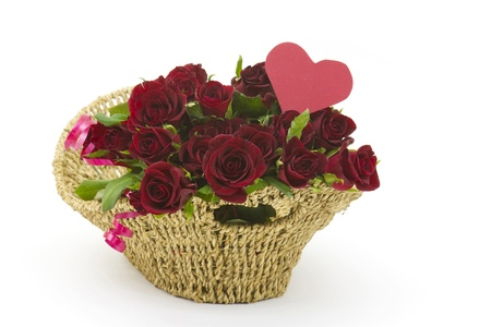 red roses in a basket Stock Photo - 15834179