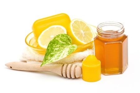 glycerin soap: bar of glycerin soap jar of honey and lemon