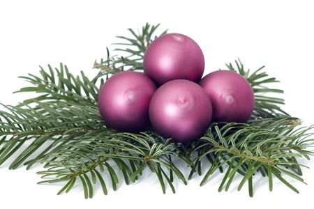 lila: christmas balls Stock Photo