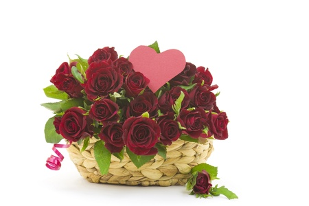 red roses in a basket Stock Photo - 16457355